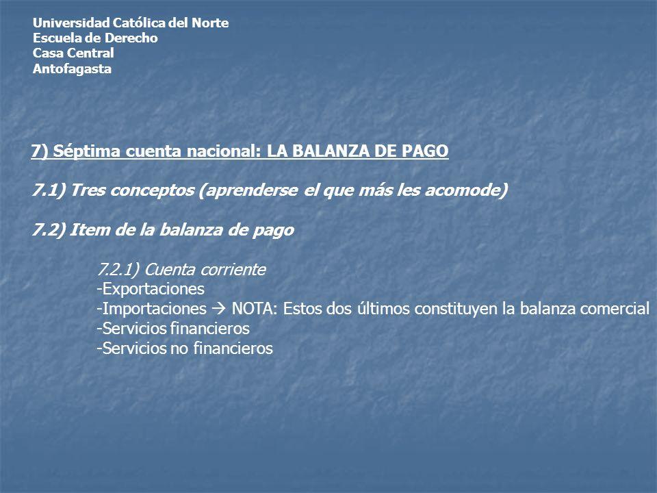Universidad Católica del Norte Escuela de Derecho Casa Central Antofagasta 7) Séptima cuenta nacional: LA BALANZA DE PAGO 7.1) Tres conceptos (aprende