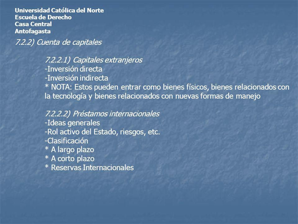 Universidad Católica del Norte Escuela de Derecho Casa Central Antofagasta 7.2.2) Cuenta de capitales 7.2.2.1) Capitales extranjeros -Inversión directa -Inversión indirecta * NOTA: Estos pueden entrar como bienes físicos, bienes relacionados con la tecnología y bienes relacionados con nuevas formas de manejo 7.2.2.2) Préstamos internacionales -Ideas generales -Rol activo del Estado, riesgos, etc.