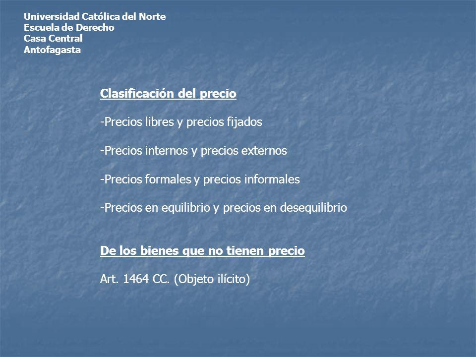 Universidad Católica del Norte Escuela de Derecho Casa Central Antofagasta Clasificación del precio -Precios libres y precios fijados -Precios interno