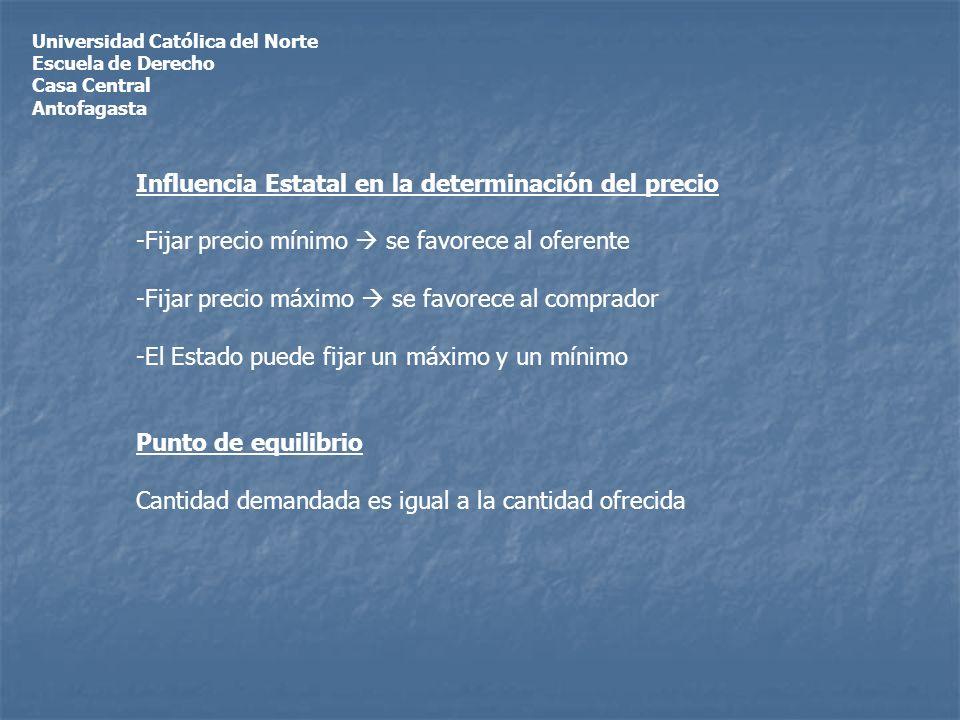 Universidad Católica del Norte Escuela de Derecho Casa Central Antofagasta Influencia Estatal en la determinación del precio -Fijar precio mínimo se f
