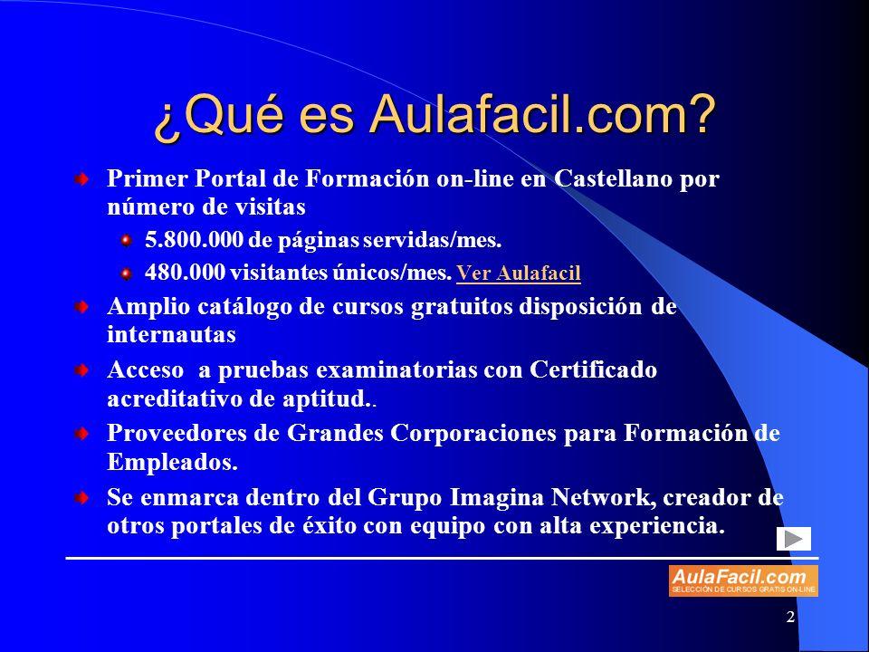 2 ¿Qué es Aulafacil.com? Primer Portal de Formación on-line en Castellano por número de visitas 5.800.000 de páginas servidas/mes. 480.000 visitantes