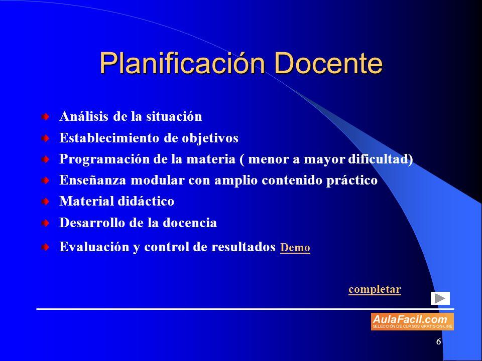 6 Planificación Docente Análisis de la situación Establecimiento de objetivos Programación de la materia ( menor a mayor dificultad) Enseñanza modular