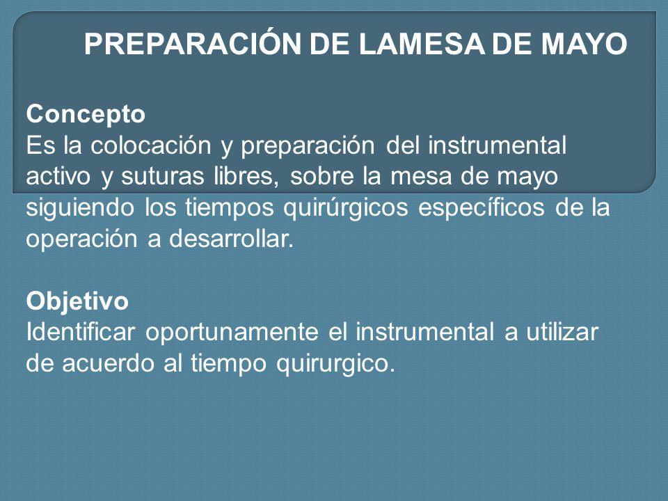 PREPARACIÓN DE LAMESA DE MAYO Concepto Es la colocación y preparación del instrumental activo y suturas libres, sobre la mesa de mayo siguiendo los ti
