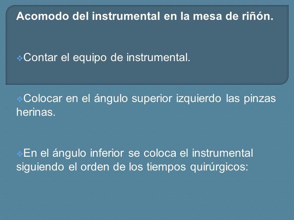 Acomodo del instrumental en la mesa de riñón. Contar el equipo de instrumental. Colocar en el ángulo superior izquierdo las pinzas herinas. En el ángu