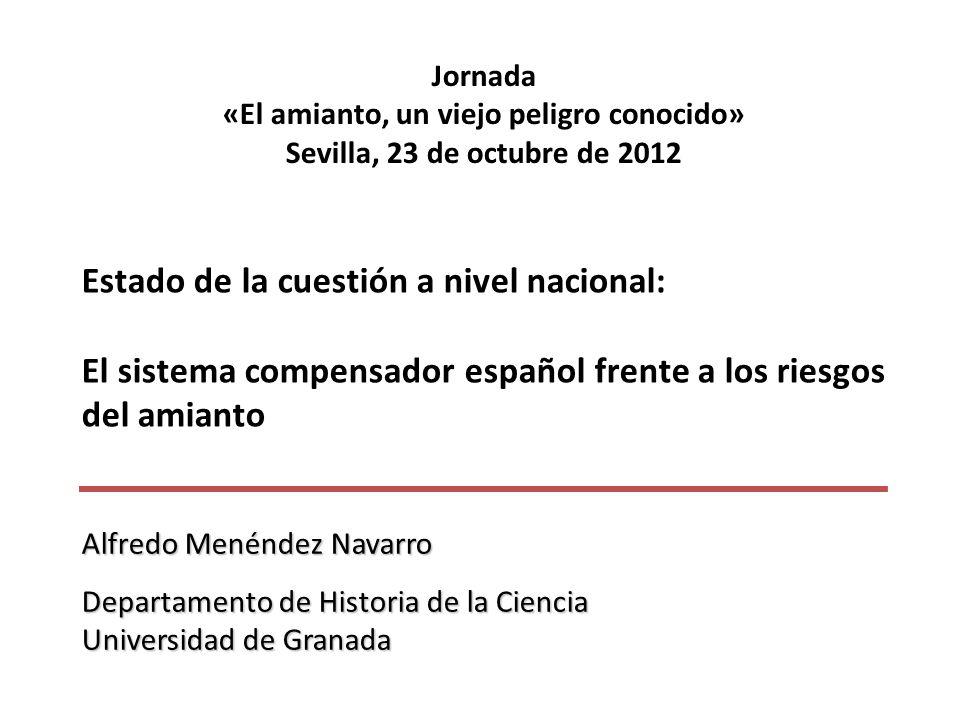 Jornada «El amianto, un viejo peligro conocido» Sevilla, 23 de octubre de 2012 Estado de la cuestión a nivel nacional: El sistema compensador español
