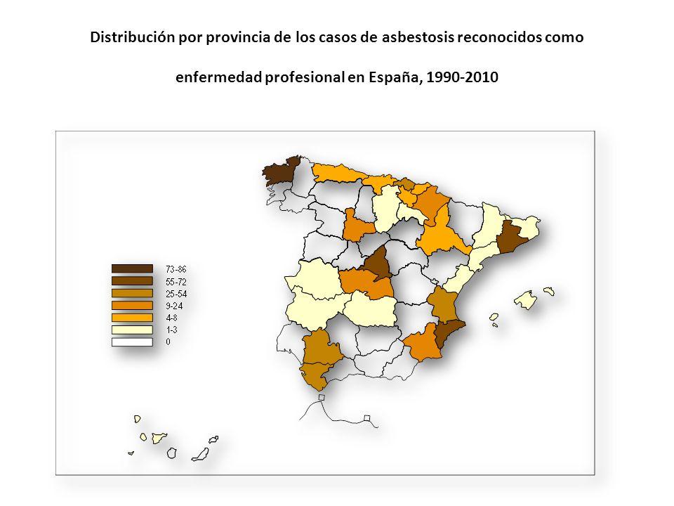 Distribución por provincia de los casos de asbestosis reconocidos como enfermedad profesional en España, 1990-2010