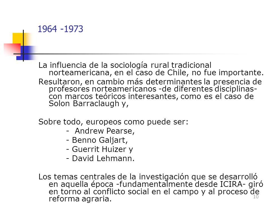 1964 -1973 La influencia de la sociología rural tradicional norteamericana, en el caso de Chile, no fue importante. Resultaron, en cambio más determin