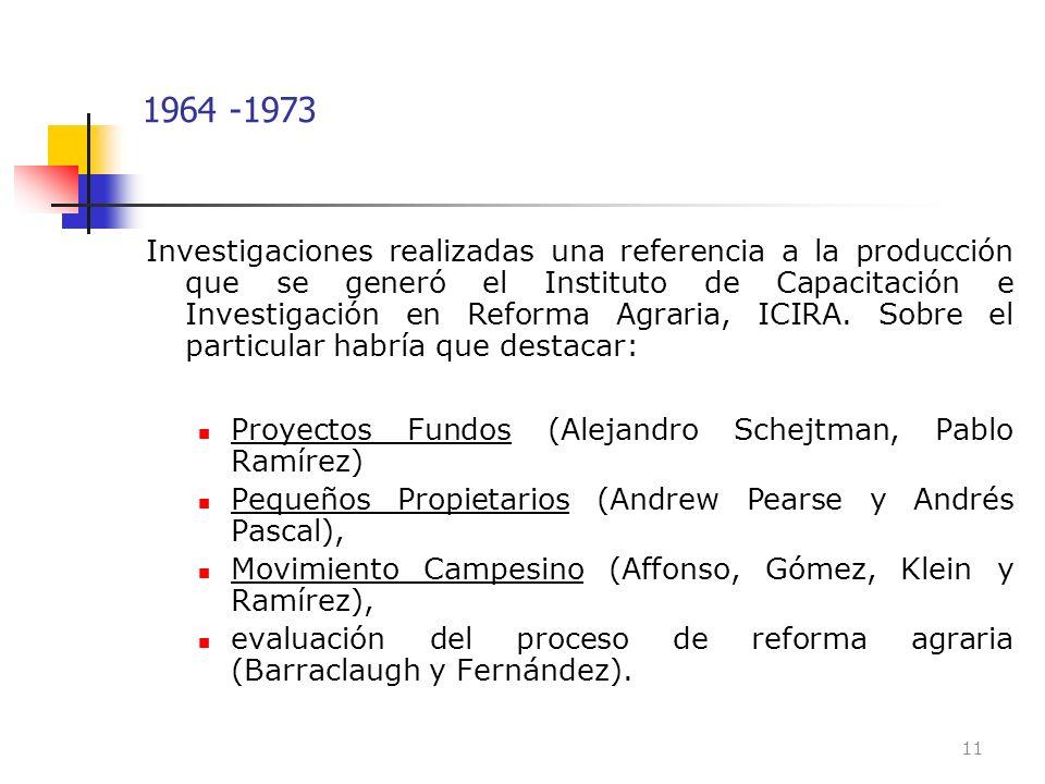 1964 -1973 Investigaciones realizadas una referencia a la producción que se generó el Instituto de Capacitación e Investigación en Reforma Agraria, IC