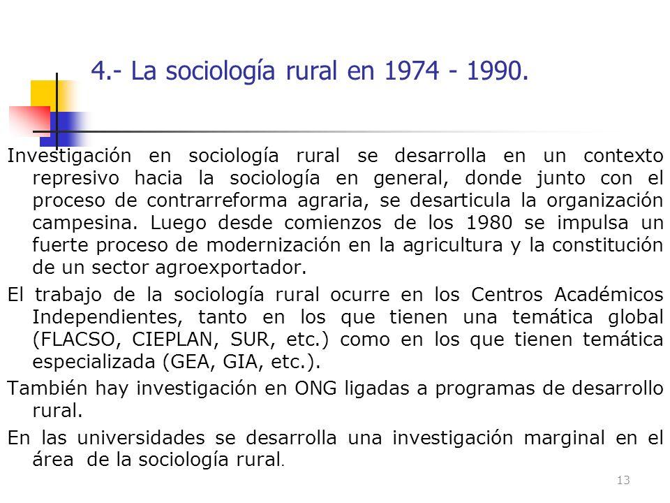 4.- La sociología rural en 1974 - 1990. Investigación en sociología rural se desarrolla en un contexto represivo hacia la sociología en general, donde