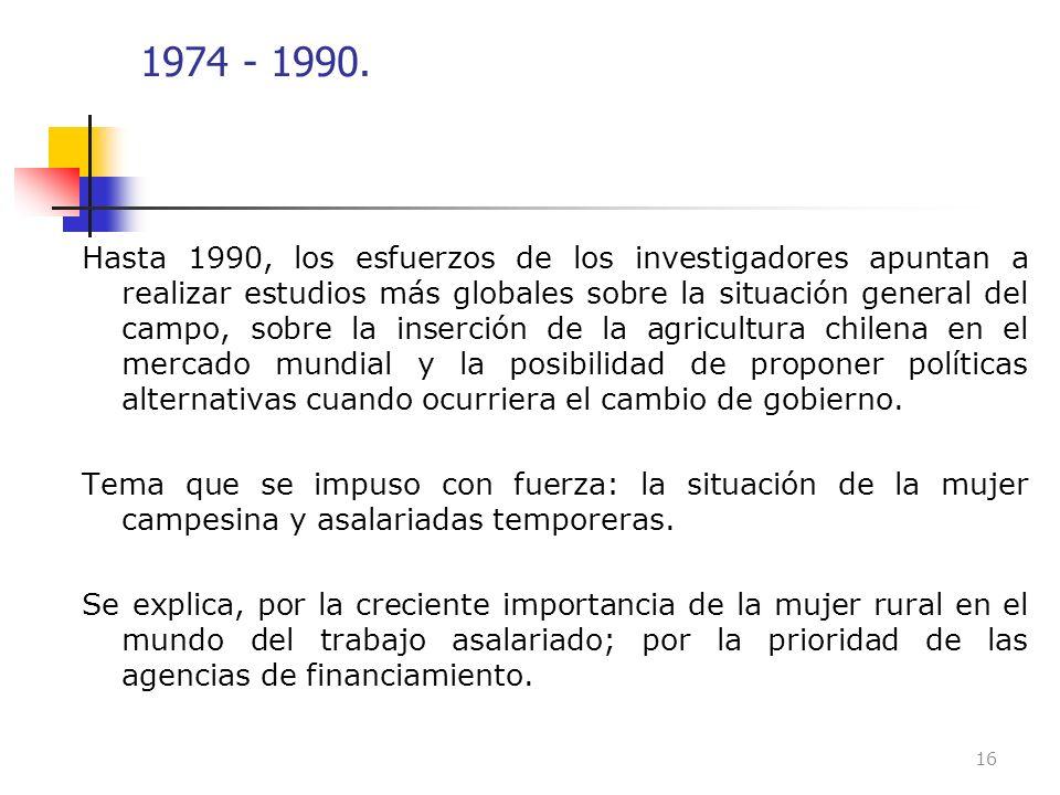 1974 - 1990. Hasta 1990, los esfuerzos de los investigadores apuntan a realizar estudios más globales sobre la situación general del campo, sobre la i
