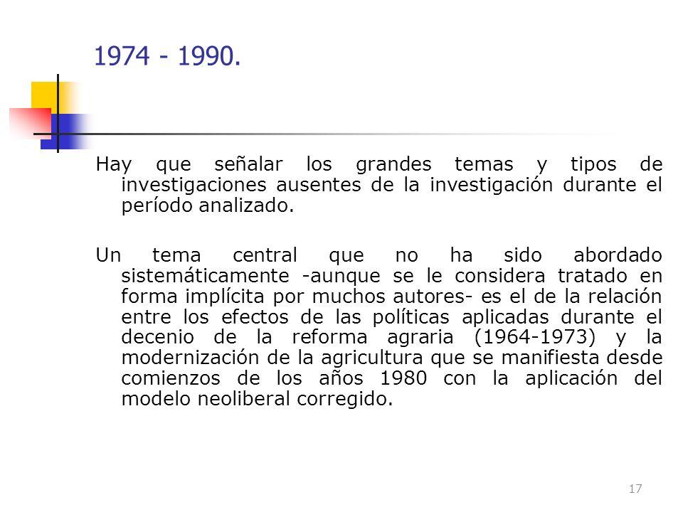 1974 - 1990. Hay que señalar los grandes temas y tipos de investigaciones ausentes de la investigación durante el período analizado. Un tema central q
