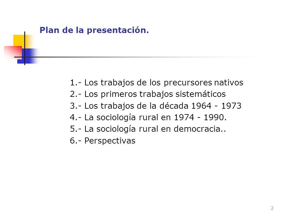 Plan de la presentación. 1.- Los trabajos de los precursores nativos 2.- Los primeros trabajos sistemáticos 3.- Los trabajos de la década 1964 - 1973