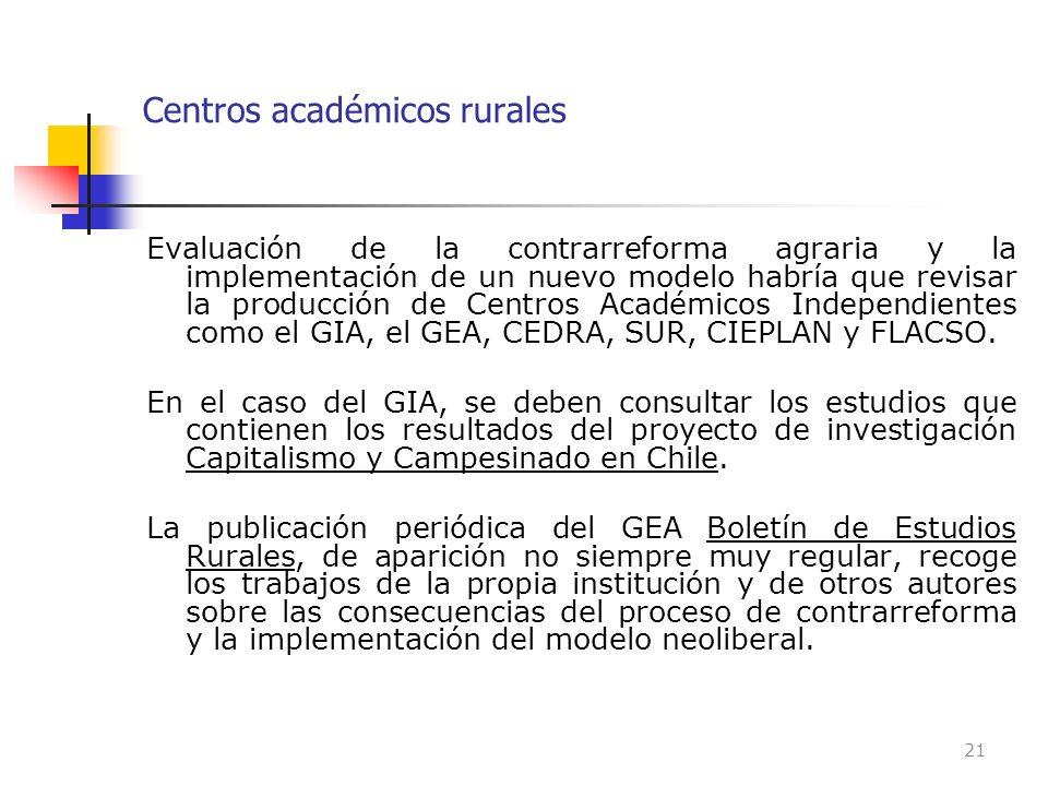 Centros académicos rurales Evaluación de la contrarreforma agraria y la implementación de un nuevo modelo habría que revisar la producción de Centros
