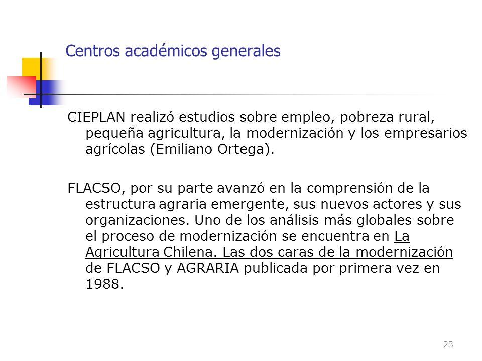 Centros académicos generales CIEPLAN realizó estudios sobre empleo, pobreza rural, pequeña agricultura, la modernización y los empresarios agrícolas (