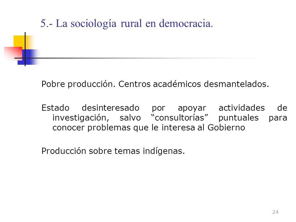 5.- La sociología rural en democracia. Pobre producción. Centros académicos desmantelados. Estado desinteresado por apoyar actividades de investigació