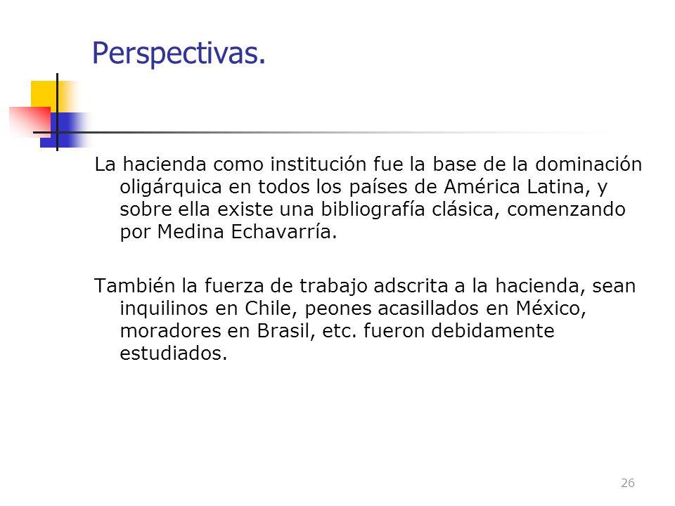 Perspectivas. La hacienda como institución fue la base de la dominación oligárquica en todos los países de América Latina, y sobre ella existe una bib