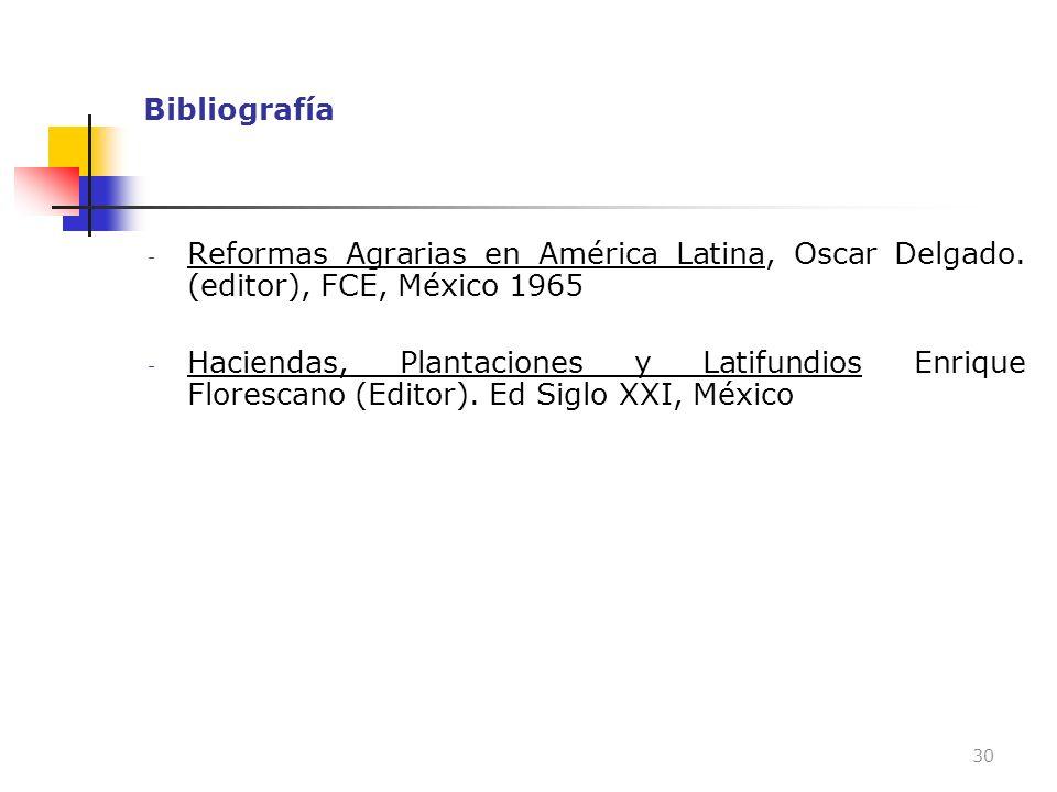 Bibliografía - Reformas Agrarias en América Latina, Oscar Delgado. (editor), FCE, México 1965 - Haciendas, Plantaciones y Latifundios Enrique Floresca