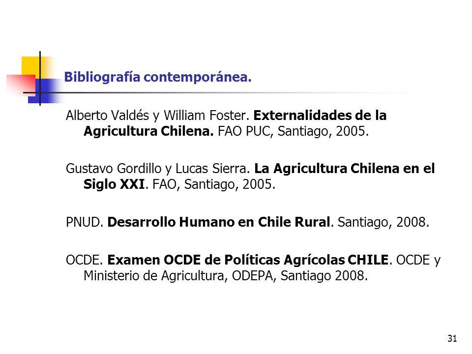 31 Bibliografía contemporánea. Alberto Valdés y William Foster. Externalidades de la Agricultura Chilena. FAO PUC, Santiago, 2005. Gustavo Gordillo y