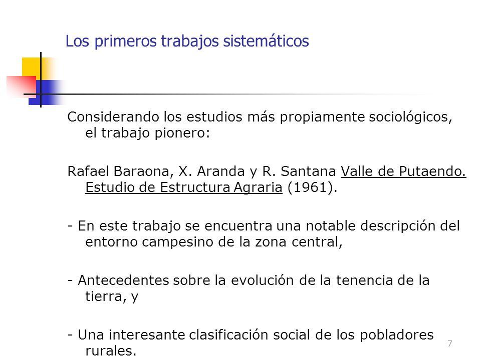 Los primeros trabajos sistemáticos Considerando los estudios más propiamente sociológicos, el trabajo pionero: Rafael Baraona, X. Aranda y R. Santana