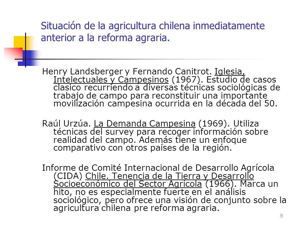 Situación de la agricultura chilena inmediatamente anterior a la reforma agraria. Henry Landsberger y Fernando Canitrot. Iglesia, Intelectuales y Camp