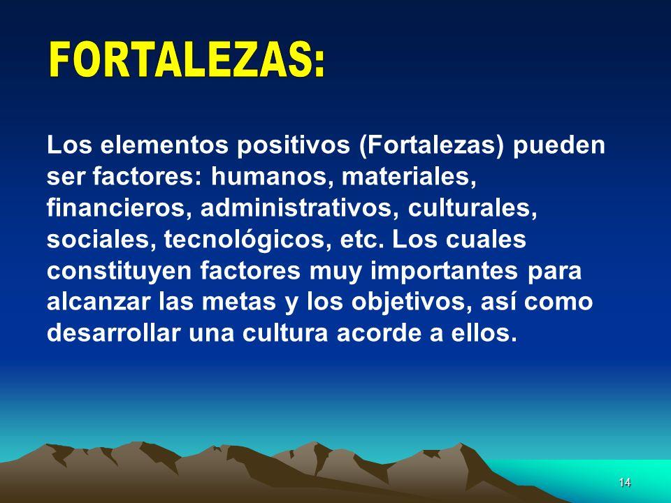 14 Los elementos positivos (Fortalezas) pueden ser factores: humanos, materiales, financieros, administrativos, culturales, sociales, tecnológicos, et