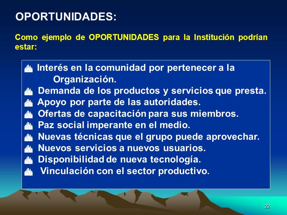 22 Como ejemplo de OPORTUNIDADES para la Institución podrían estar: Interés en la comunidad por pertenecer a la Organización. Demanda de los productos