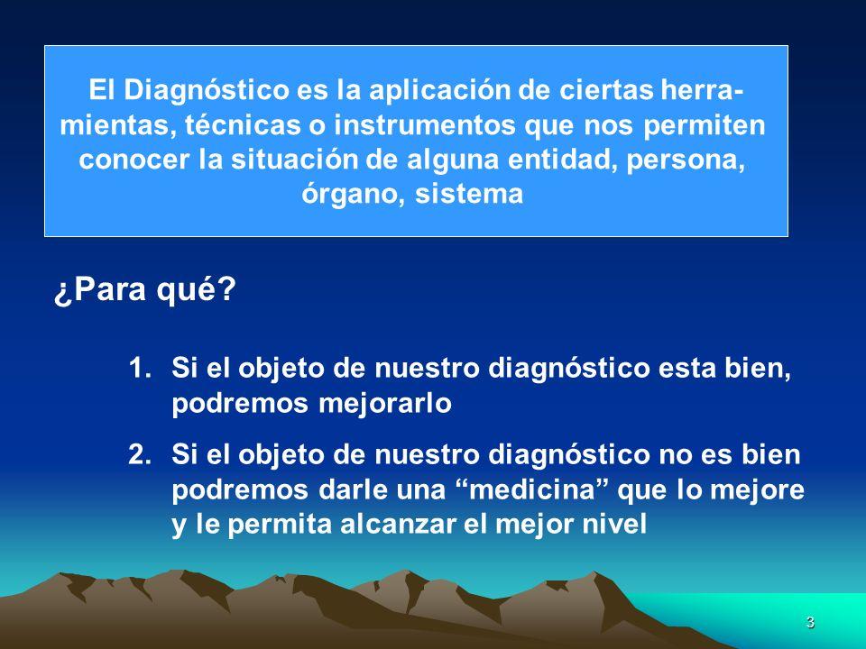 3 El Diagnóstico es la aplicación de ciertas herra- mientas, técnicas o instrumentos que nos permiten conocer la situación de alguna entidad, persona,