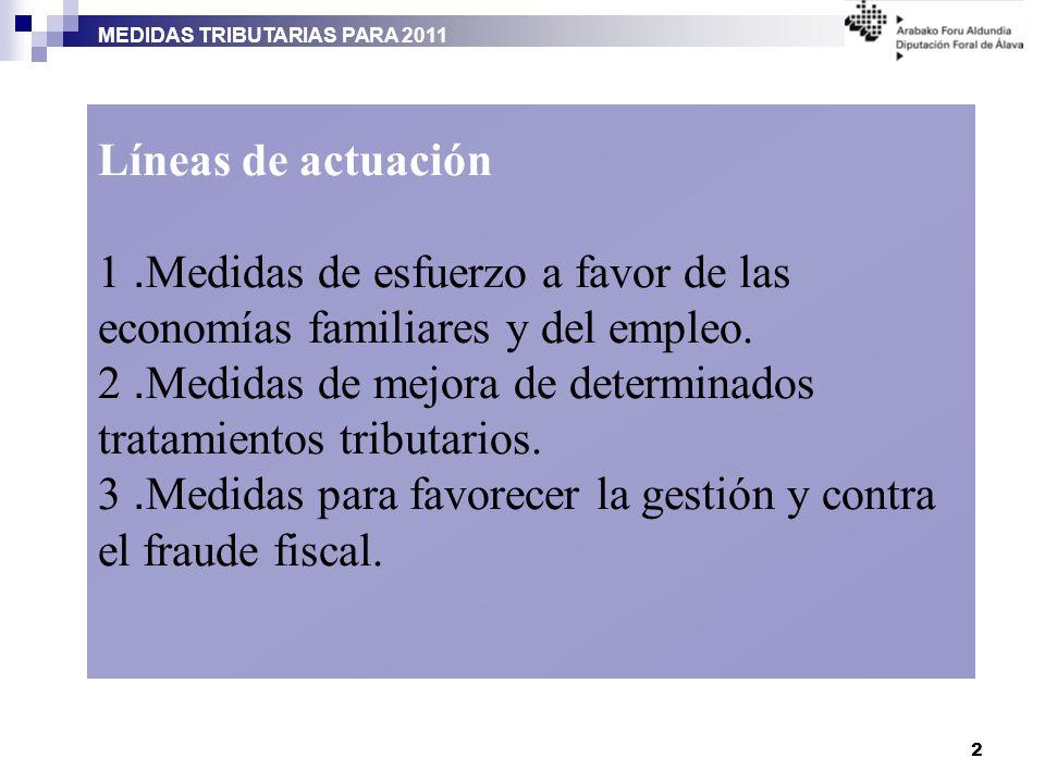 MEDIDAS TRIBUTARIAS PARA 2011 2 Líneas de actuación 1. Medidas de esfuerzo a favor de las economías familiares y del empleo. 2. Medidas de mejora de d