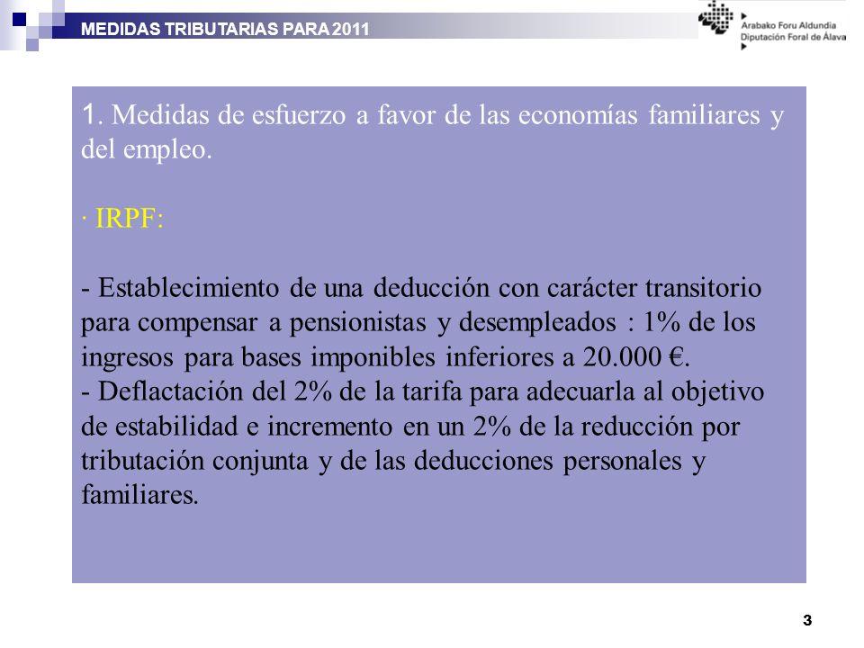 MEDIDAS TRIBUTARIAS PARA 2011 3 1. Medidas de esfuerzo a favor de las economías familiares y del empleo. · IRPF: - Establecimiento de una deducción co