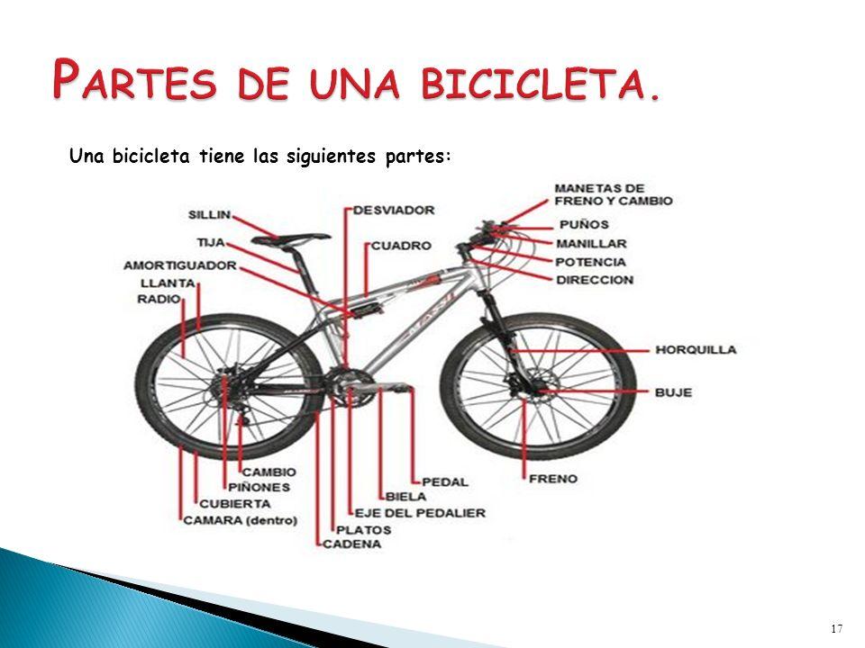 Una bicicleta tiene las siguientes partes: 17