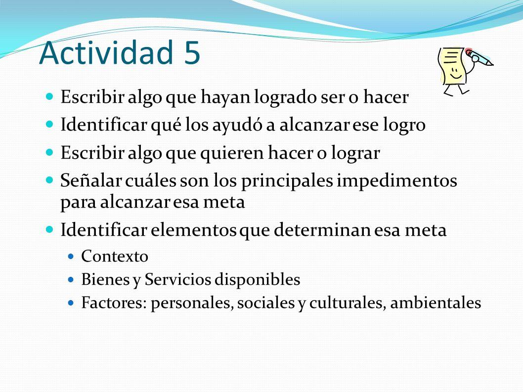 Actividad 5 Escribir algo que hayan logrado ser o hacer Identificar qué los ayudó a alcanzar ese logro Escribir algo que quieren hacer o lograr Señala