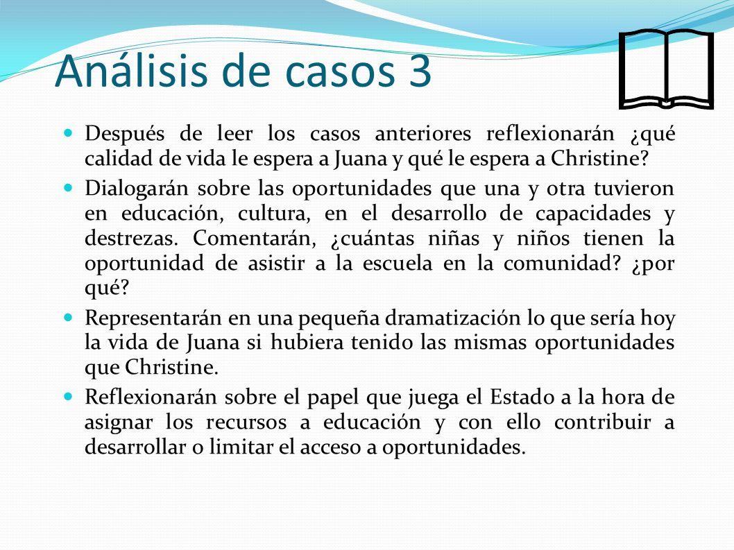 Análisis de casos 3 Después de leer los casos anteriores reflexionarán ¿qué calidad de vida le espera a Juana y qué le espera a Christine? Dialogarán