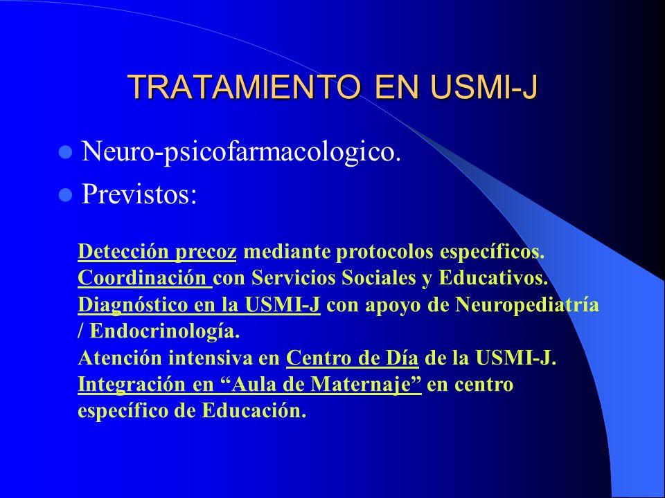 TRATAMIENTO EN USMI-J Neuro-psicofarmacologico. Previstos: Detección precoz mediante protocolos específicos. Coordinación con Servicios Sociales y Edu