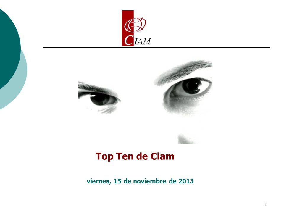 1 Top Ten de Ciam viernes, 15 de noviembre de 2013
