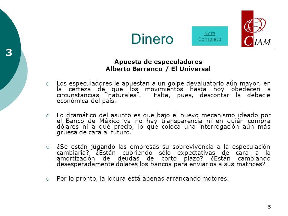 5 Dinero Apuesta de especuladores Alberto Barranco / El Universal Los especuladores le apuestan a un golpe devaluatorio aún mayor, en la certeza de que los movimientos hasta hoy obedecen a circunstancias naturales.