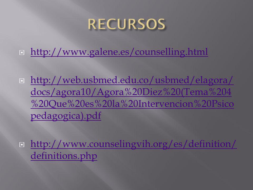 http://www.galene.es/counselling.html http://web.usbmed.edu.co/usbmed/elagora/ docs/agora10/Agora%20Diez%20(Tema%204 %20Que%20es%20la%20Intervencion%2