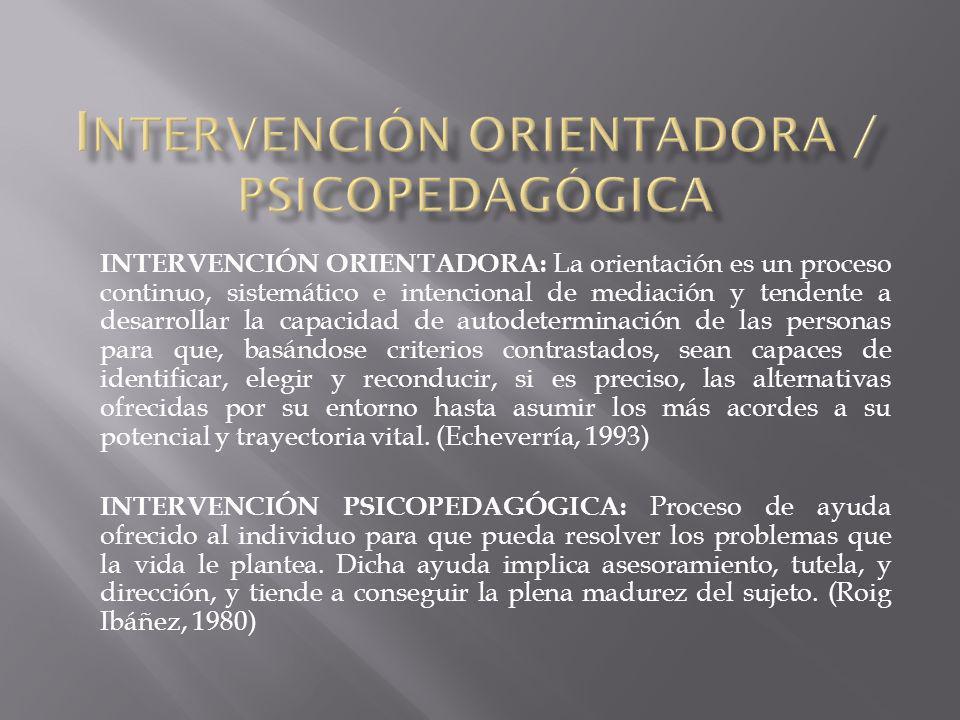 INTERVENCIÓN ORIENTADORA: La orientación es un proceso continuo, sistemático e intencional de mediación y tendente a desarrollar la capacidad de autod