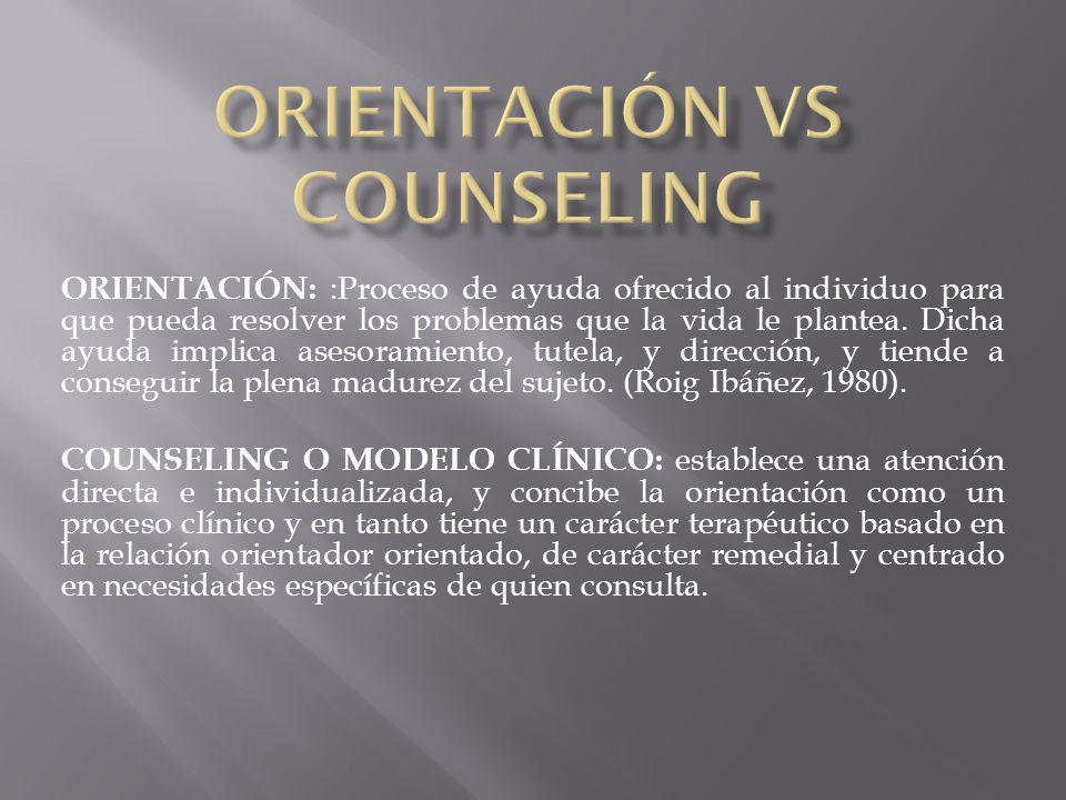 ORIENTACIÓN: :Proceso de ayuda ofrecido al individuo para que pueda resolver los problemas que la vida le plantea. Dicha ayuda implica asesoramiento,