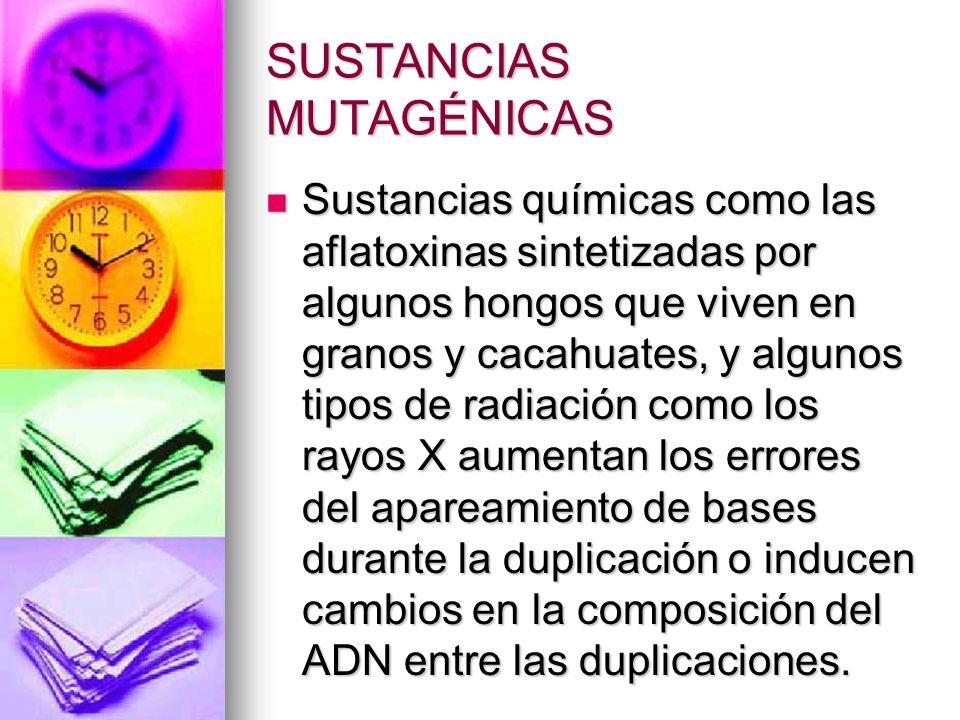 SUSTANCIAS MUTAGÉNICAS Sustancias químicas como las aflatoxinas sintetizadas por algunos hongos que viven en granos y cacahuates, y algunos tipos de r