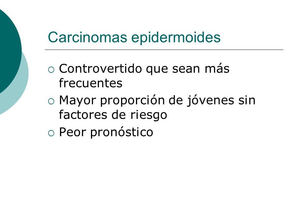 Carcinomas epidermoides Controvertido que sean más frecuentes Mayor proporción de jóvenes sin factores de riesgo Peor pronóstico
