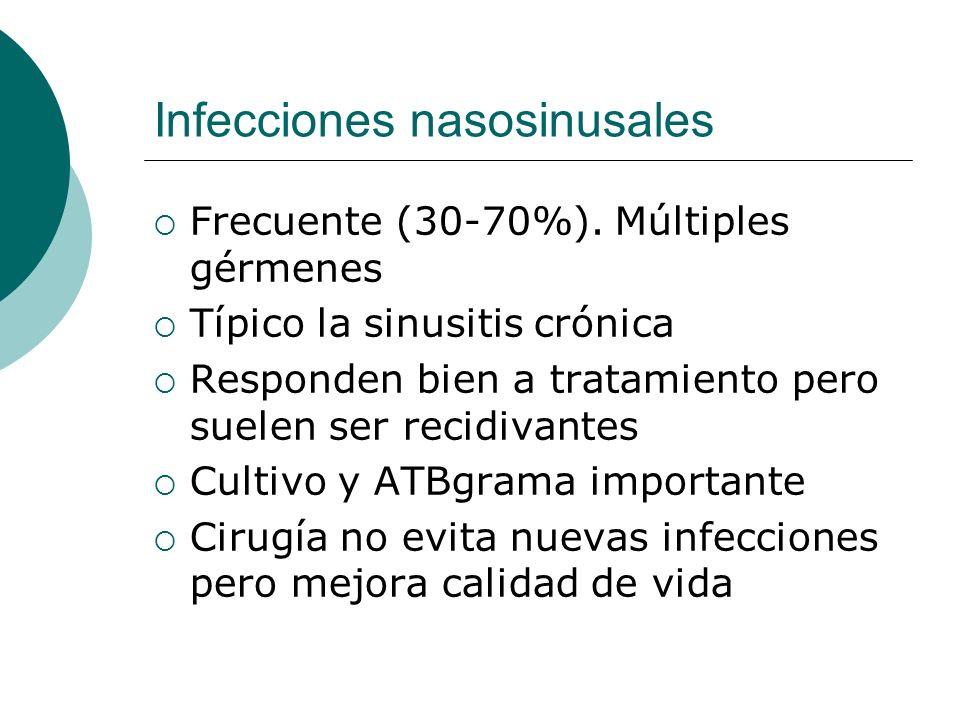 Infecciones nasosinusales Frecuente (30-70%). Múltiples gérmenes Típico la sinusitis crónica Responden bien a tratamiento pero suelen ser recidivantes