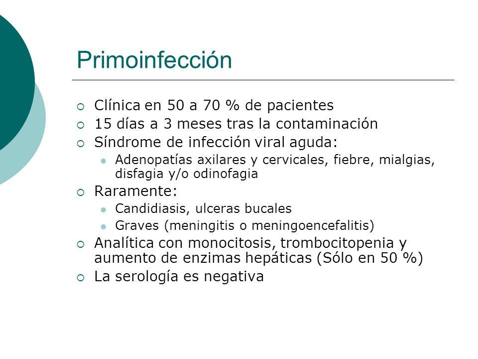 Primoinfección Clínica en 50 a 70 % de pacientes 15 días a 3 meses tras la contaminación Síndrome de infección viral aguda: Adenopatías axilares y cer