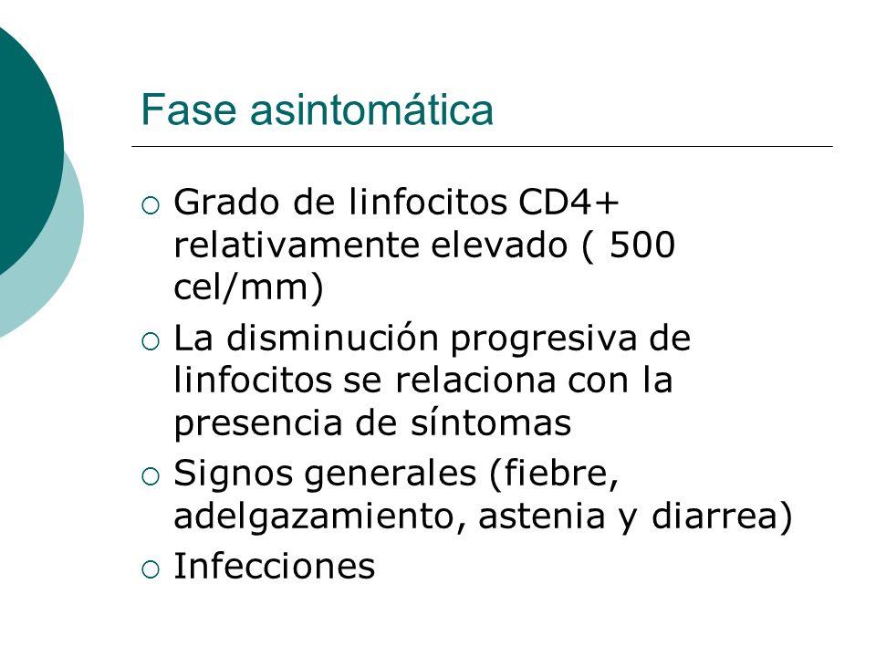 Fase asintomática Grado de linfocitos CD4+ relativamente elevado ( 500 cel/mm) La disminución progresiva de linfocitos se relaciona con la presencia d