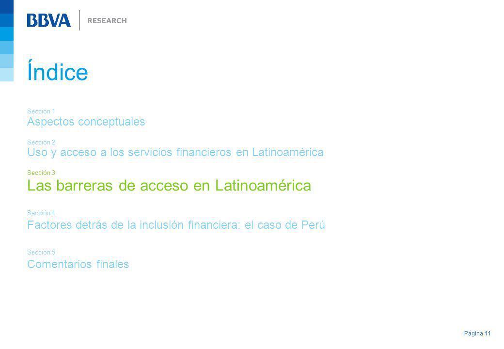 Página 11 Índice Sección 1 Aspectos conceptuales Sección 2 Uso y acceso a los servicios financieros en Latinoamérica Sección 3 Las barreras de acceso