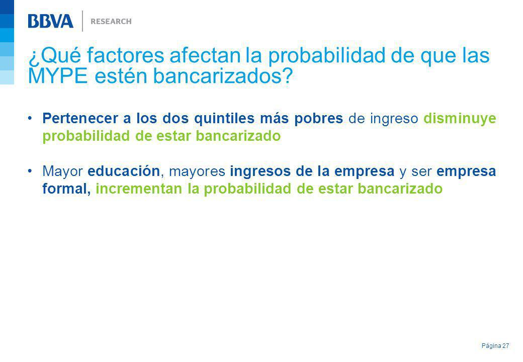 ¿Qué factores afectan la probabilidad de que las MYPE estén bancarizados? Pertenecer a los dos quintiles más pobres de ingreso disminuye probabilidad