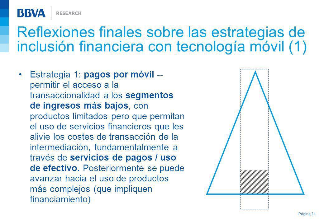 Reflexiones finales sobre las estrategias de inclusión financiera con tecnología móvil (1) Estrategia 1: pagos por móvil -- permitir el acceso a la tr