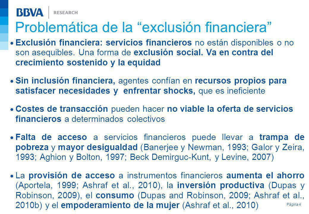 Exclusión financiera: servicios financieros no están disponibles o no son asequibles. Una forma de exclusión social. Va en contra del crecimiento sost