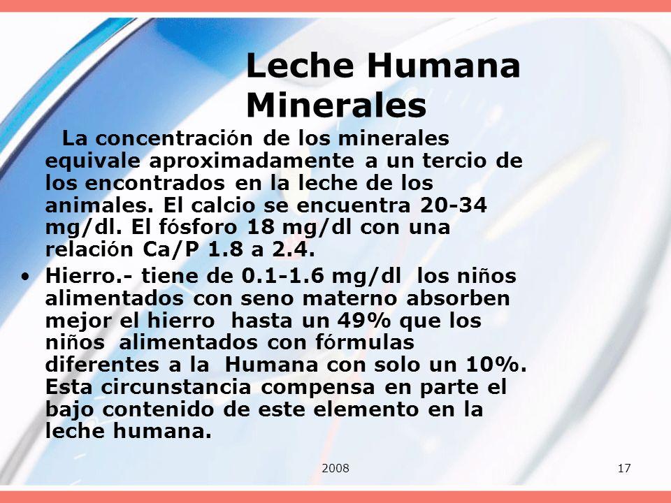 200817 Leche Humana Minerales La concentraci ó n de los minerales equivale aproximadamente a un tercio de los encontrados en la leche de los animales.