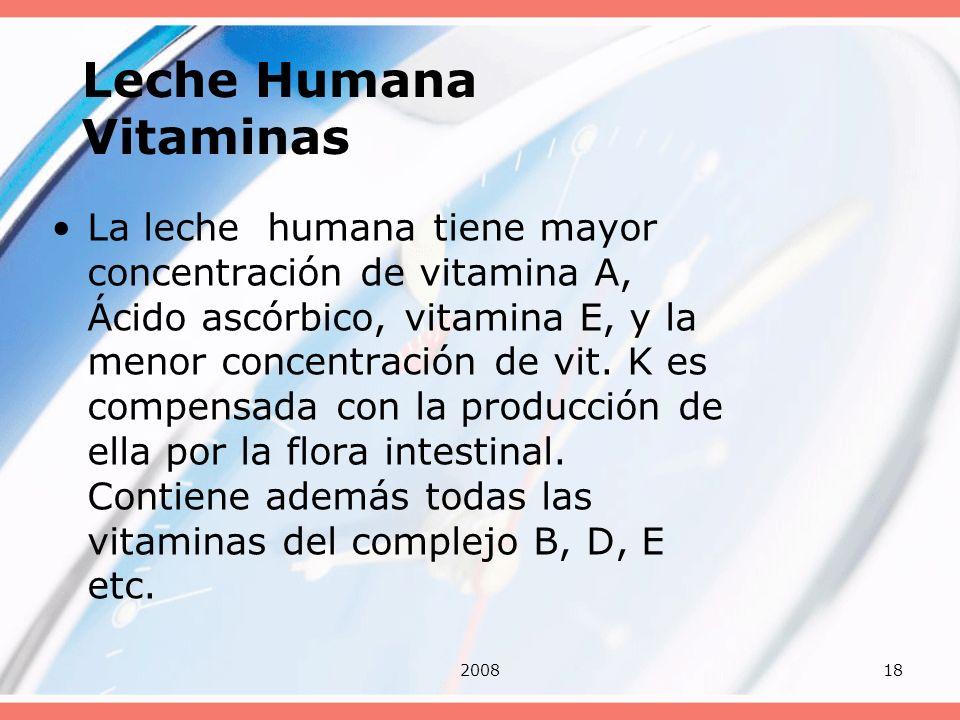 200818 Leche Humana Vitaminas La leche humana tiene mayor concentración de vitamina A, Ácido ascórbico, vitamina E, y la menor concentración de vit. K