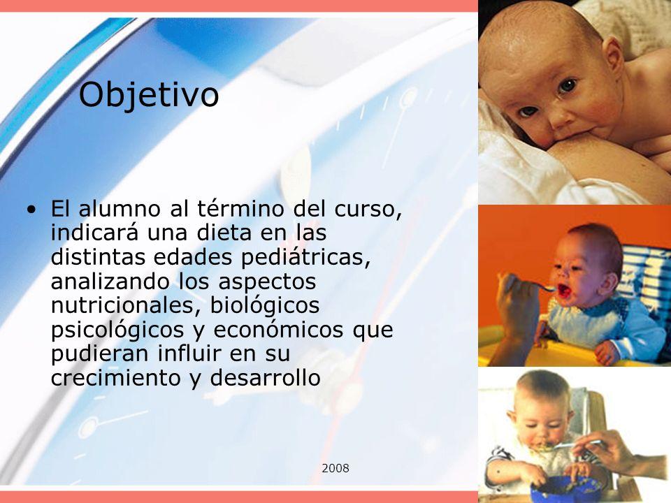 20083 Objetivo El alumno al término del curso, indicará una dieta en las distintas edades pediátricas, analizando los aspectos nutricionales, biológic